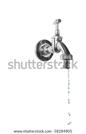 dripping metal tap on white background - stock photo