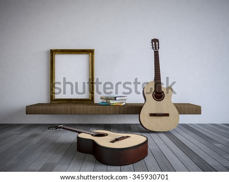 3Ds rendered guitars in the room, Old wood floor,Blank photo frame and book on shelf - stock photo