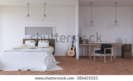 3ds rendered image of bed room in day timehanging glass lamps over bed and