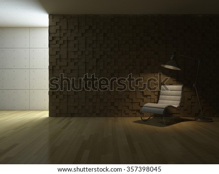 3ds rendered image of white chair and stainless lamp in living room which have wooden cubic pattern as wall, wooden floor and cracked concrete decorative wall, night view perspective