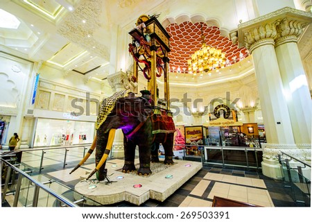DUBAI, UAE-APRIL 12: Interior Ibn Battuta Mall store on April 12, 2015. Each salesroom is decorated in the style of different countries.