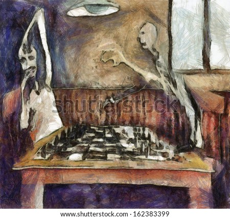 Duel of the chess players - stock photo