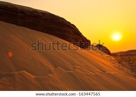 Dune view morning silhouettes landscape Ubon Ratchathani Thailand - stock photo