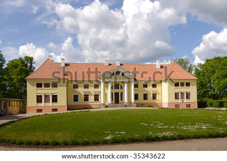 Durbe palace (1820) in city Tukums, Latvia - stock photo