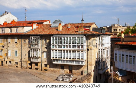 Dwelling houses in historic part of  Vitoria-Gasteiz.  Basque Country, Spain - stock photo