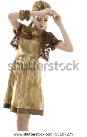 Dynamic image of a beautiful woman shot in studio - stock photo