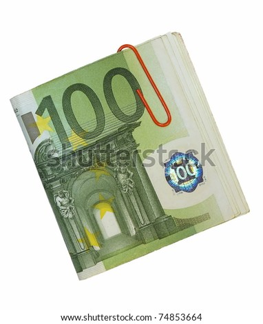 100e euro and red paperclip isolated on white background - stock photo