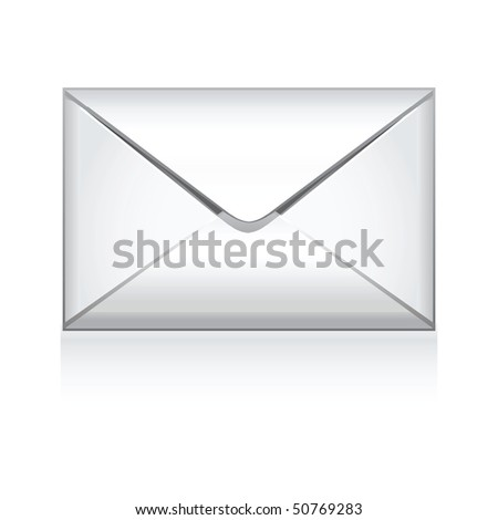 e mail icon isolated on white - stock photo
