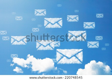 E-mail icon pattern cloud shape. - stock photo