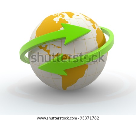 Earth globe and  arrows . 3d render illustration - stock photo