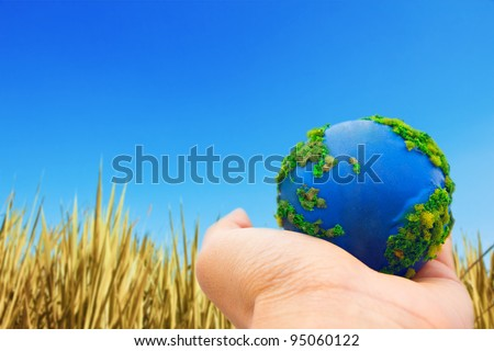 Earth in Hands. Concept Save green planet.