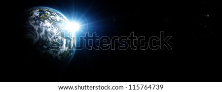 Earth on a background of stars and galaxies - stock photo