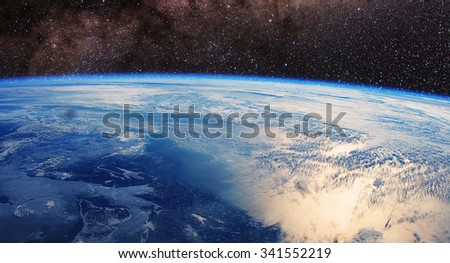 Earth space - Elements of this image furnished by NASA - stock photo