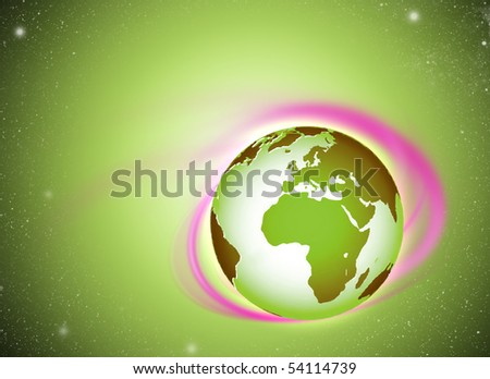 Earth swirl, green and pink