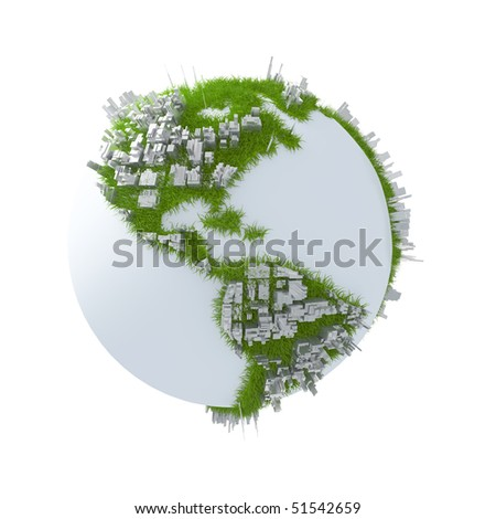 Earth with continents covered with grass and buildings