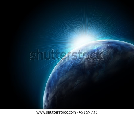 Earth with Rising Sun - stock photo