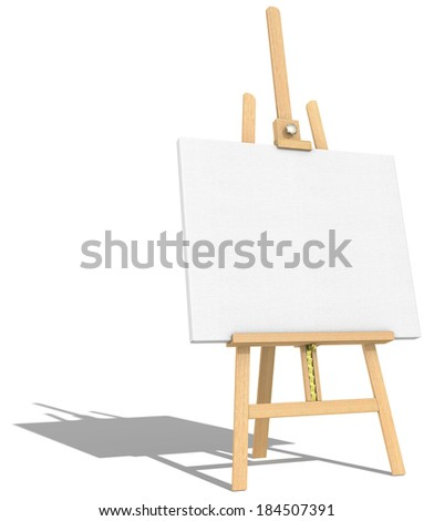 Easel and Canvas.  Side view of an Easel and Canvas. Hard shadow.