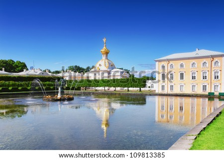 "East Chapel and "" Venus Italic Fountain"" of Petergof  Palace in St. Petersburg. Russia - stock photo"