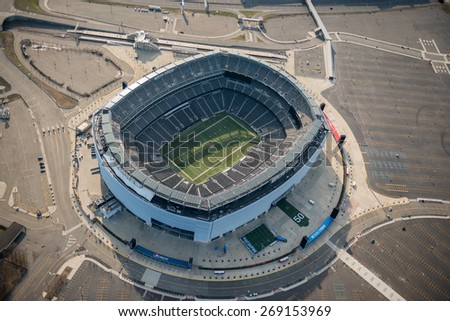 EAST RUTHERFORD,NJ - APRIL 5: Aerial view of Metlife Stadium on April 5th,2015.It is the home of the New York Giants and New York Jets of the NFL and has a capacity of 82566.It opened in april 2010. - stock photo