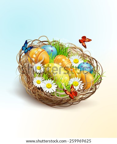 Easter background with eggs and nest - stock photo