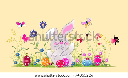 Easter bunny and eggs on the field,kind illustration