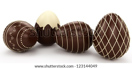 Easter eggs. candy made of white and dark chocolate. Isolated on white background - stock photo