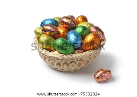Easter eggs in colored foil in a basket