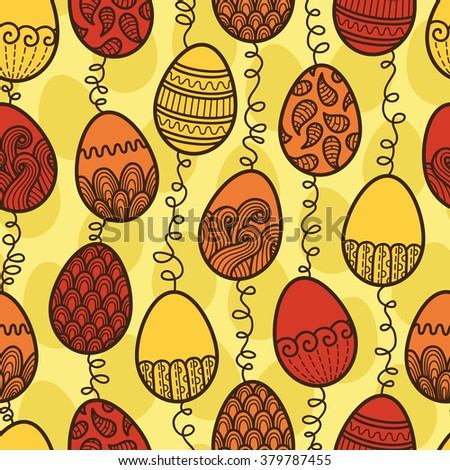 Easter eggs pattern. rasterized copy of seamless doodle easter pattern with Easter eggs - stock photo