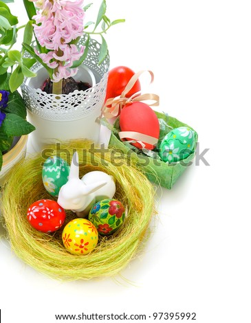 easter eggs with flowers on white background - stock photo