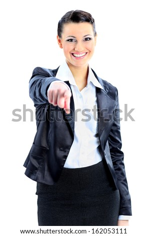Ã?Â??eautiful business woman pointing finger. Isolated on a white background. - stock photo