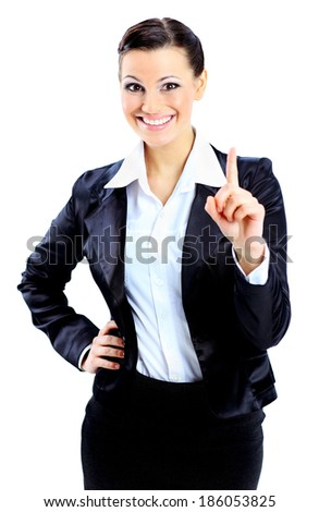 �?eautiful business woman points a finger up. Isolated on a white background. - stock photo