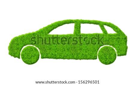 eco car isolated on white - stock photo