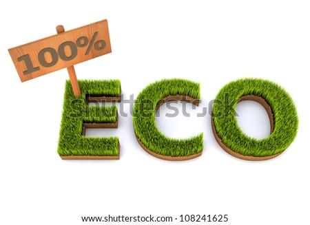 100% eco green grass concept - stock photo