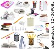 education objects isolated on white background - stock photo