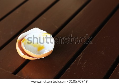 Egg Shells on the Table - stock photo