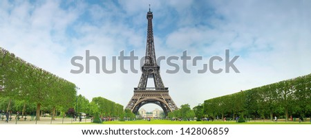 Eiffel tower in Paris with central perspective. - stock photo