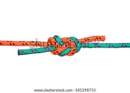 """""""Eight"""" knot. Collection of photos - knots used in mountaineering and rock-climbing - stock photo"""