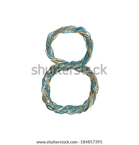8, eight, set of numbers of twisted wire - stock photo