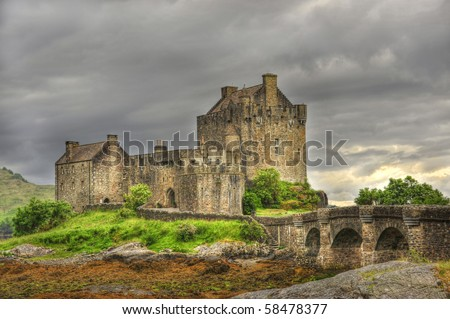 4 Eilean Donan Castle.  one of the most iconic images of Scotland, - stock photo