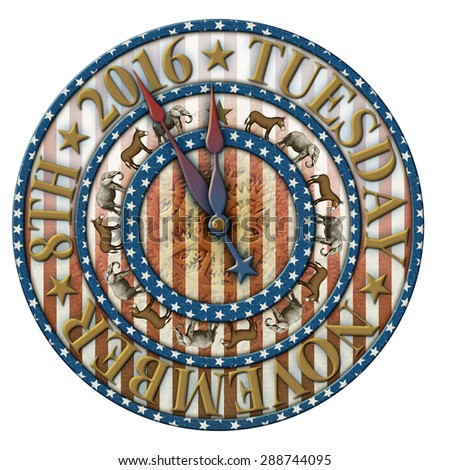 2016 Election countdown clock with election date and elephants and donkeys representing the Democratic and Republican parties. Hands are isolated separately to be placed and rotated around the clock. - stock photo