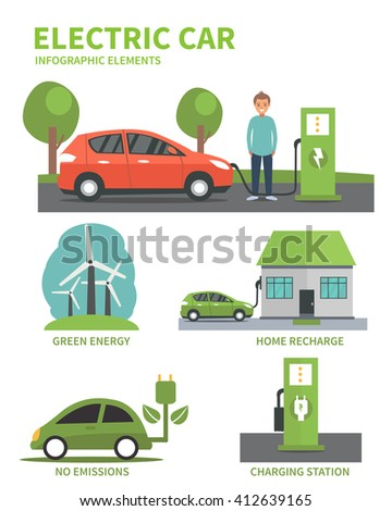 Electric car flat infographic elements. Man charging Electric car on charging station. Electric car infographic icons.  - stock photo
