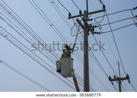 electrician repair high voltage - stock photo