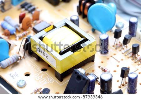 electronic circuit close-up. Macro background - stock photo