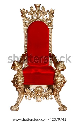 elegant ancient armchair with golden carving ornament isolated on white - stock photo