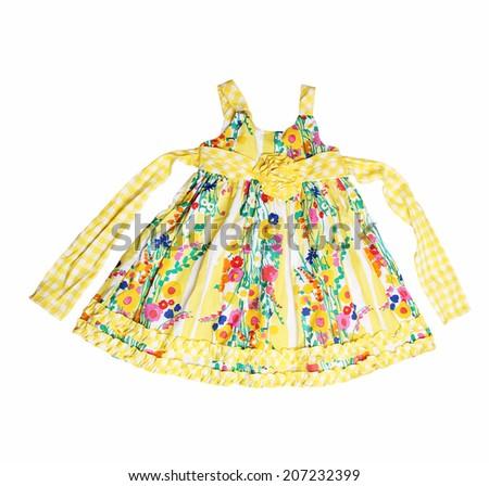 elegant dress for baby girl - on white background - stock photo