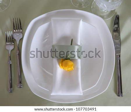 Elegant table dish with stylish setup for banquet