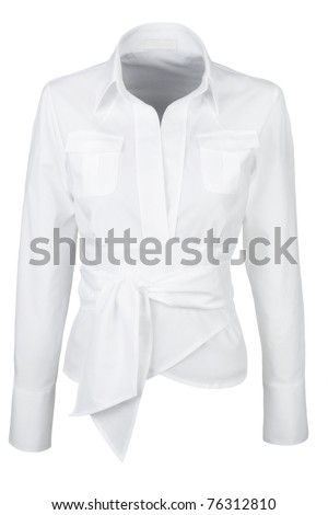 elegant white shirt with long sleeves isolated on white background - stock photo