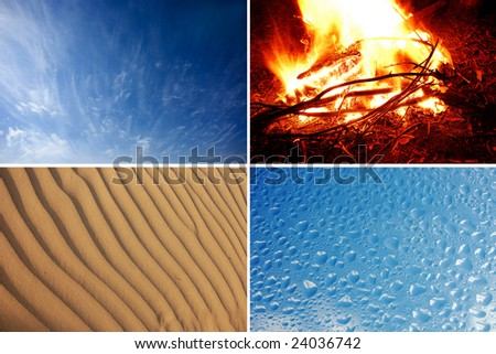 4 elements air water fire and Earth collage - stock photo