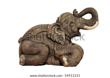 Elephant Carvings on white background - stock photo