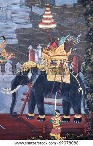 """Elephant"" Traditional Thai style painting  ""Ramayana"". This is traditional and generic style in Thailand. No any trademark or restrict matter in this photo. - stock photo"
